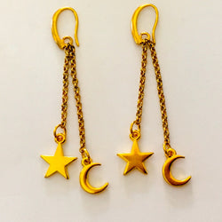 24k gold plated celestial earrings star moon on chains