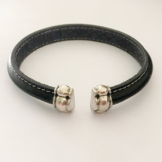 EU Leather Cuff Bracelet with Antique Silver End Caps - Shining Bee