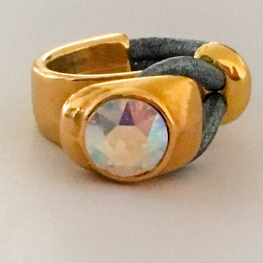 24k Gold Plated Half Cuff Leather Ring with Genuine Swarovski(R) Crystal - Crystal AB - Shining Bee