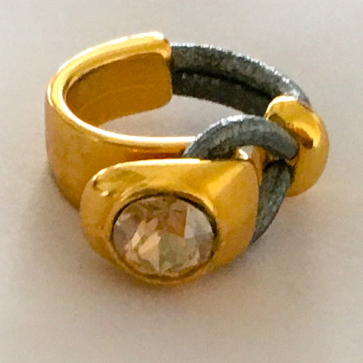 24k Gold Plated Half Cuff Leather Ring with Genuine Swarovski(R) Crystal - Light Colorado Topaz - Shining Bee