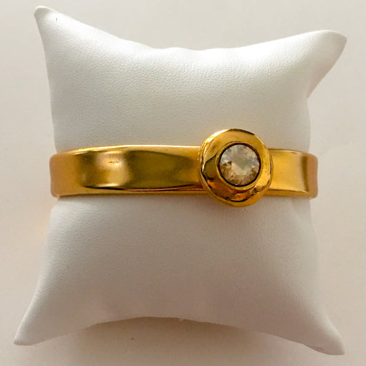 24k Gold Plated Zamak Cuff Bracelet with Genuine Swarovski(R) Crystal - Light Colorado Topaz - Shining Bee