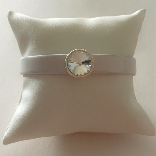 Leather Bracelet with Genuine Swarovski(R) Crystal Silver Slider/Clasp-Pearl White/Clear Crystal - Shining Bee