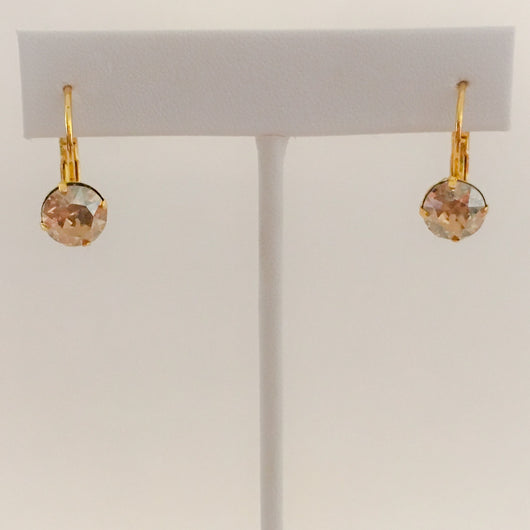 Lever Back Electro Gold Plated Earrings with Genuine Swarovski(R) Crystals - Light Colorado Topaz
