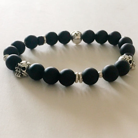 Frosted Glass Ball and Silver Plated Skull and Bead Stretch Bracelet - Shining Bee