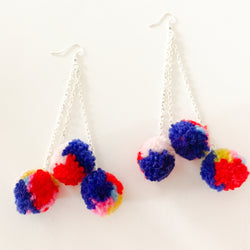 Extra Long Ball and Chain Wool Pom Pom Earrings