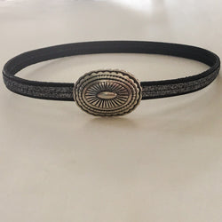 Center Stitched Glitter Embossed Italian Leather Choker with Magnetic Clasp - Shining Bee