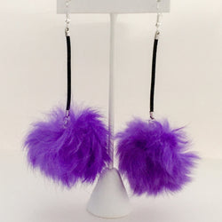 Fur Pom Pom Earrings on Leather Cord - Purple - Shining Bee