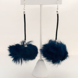 Fur Pom Pom Earrings on Leather Cord - Navy