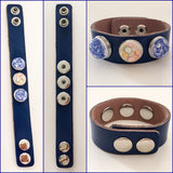 Genuine Leather Adj Snap Bracelet with Three Interchangeable Shell Snap Charms Blue - Shining Bee