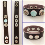 Genuine Leather Adj Snap Bracelet with Three Interchangeable Shell Snap Charms Brown - Shining Bee