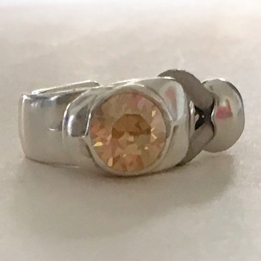 Half Cuff Ring with Genuine Swarovski(R) Topaz Crystal - Metallic Taupe - Shining Bee