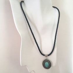 Boho Black Leather Braid Faux Turquoise Pendant Necklace - Shining Bee
