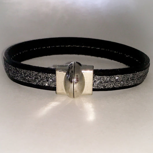 Center Stitched Glitter Embossed Italian Leather Bracelet with Magnetic Clasp - Shining Bee