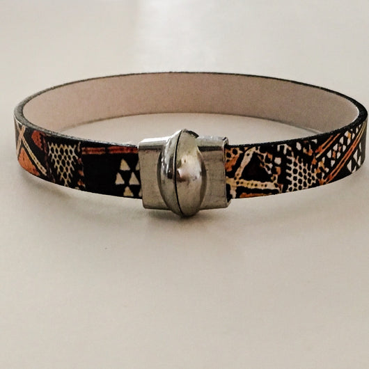EU Leather Tribal Print Bracelet with Magnetic Clasp - Shining Bee