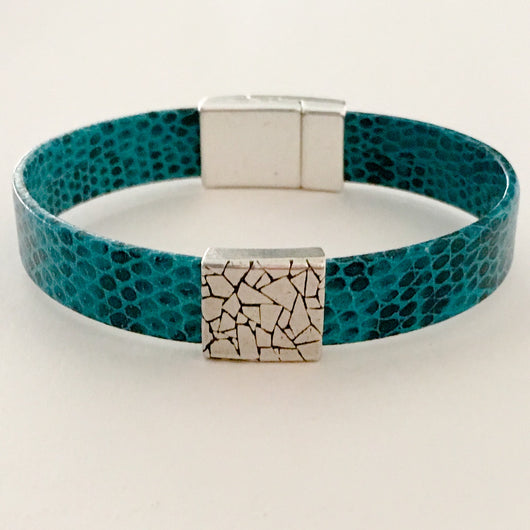Lizard Print EU Leather Turquoise Bracelet with Silver Slider