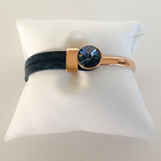 Italian Leather Bracelet with Genuine Swarovski(R) Blue Denim Crystal - Rose Gold Plated - Shining Bee