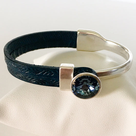 Italian Leather Bracelet with Genuine Swarovski(R) Blue Denim Crystal - Silver - Shining Bee