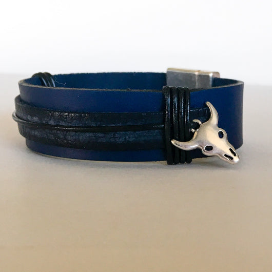 Blue and Black EU Leather Wristband with Silver Plated Cow Head & Magnetic Clasp - Shining Bee
