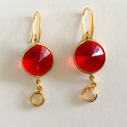 Red earrings gold Lucite Swarovski crystal