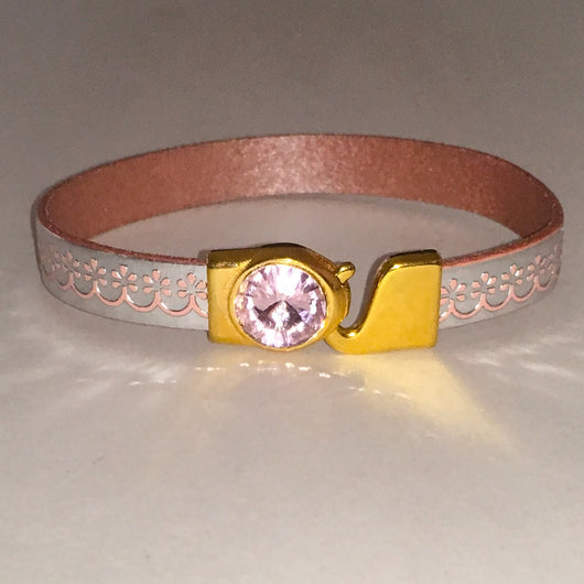 Embossed Leather Bracelet with Genuine Swarovski(R) Crystal Clasp-Silver/Pink - Shining Bee