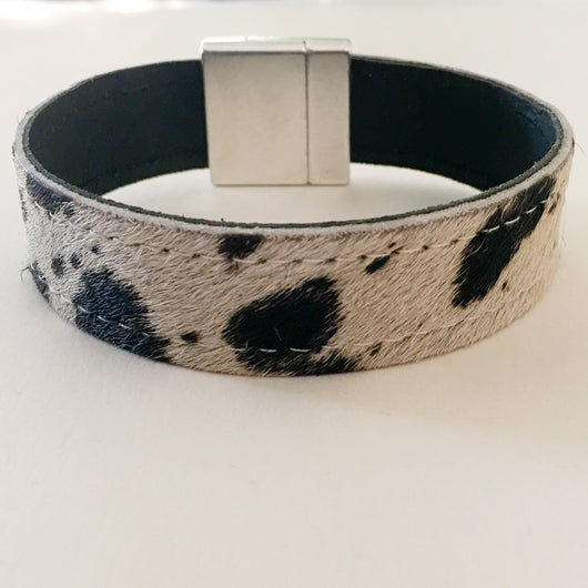 Hair On Colt Double Stitched Leather Wristband with Strong Silver Magnetic Clasp - Shining Bee