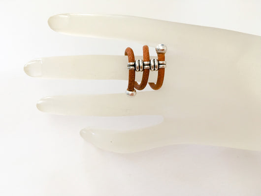 Leather cord adjustable ring - Brown - Shining Bee