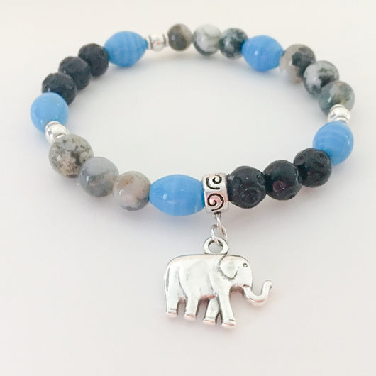 Beaded men's bracelet elephant