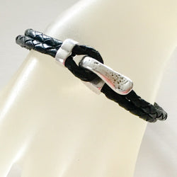 Black Braided Leather Bracelet with Dimpled Clasp - Shining Bee