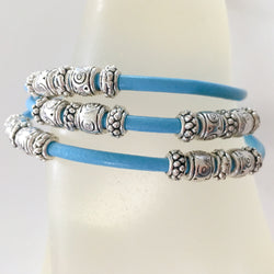 Boho turquoise leather beaded bracelet with magnetic clasp - Shining Bee