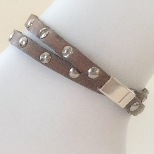 Flat Buffalo Leather Cord with Silver Rivets Wrap Bracelet Size 7.75 - Shining Bee