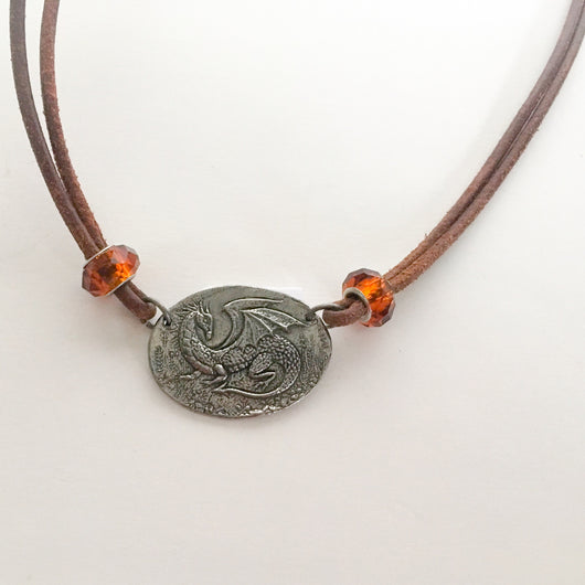 Dragon Pendant on European Leather Cord approx. 28