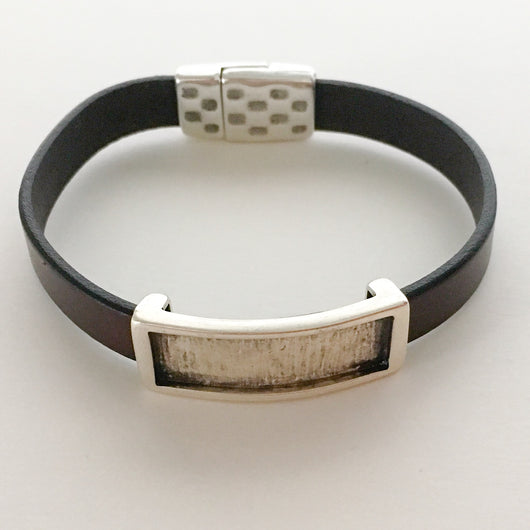 Leather Bracelet with Inset Metal Slider Size 7.75 - Shining Bee