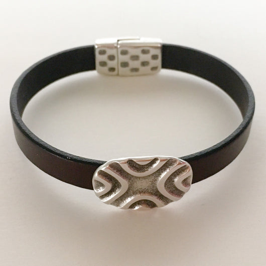 Leather Bracelet with Carved Metal Slider Size 8 - Shining Bee