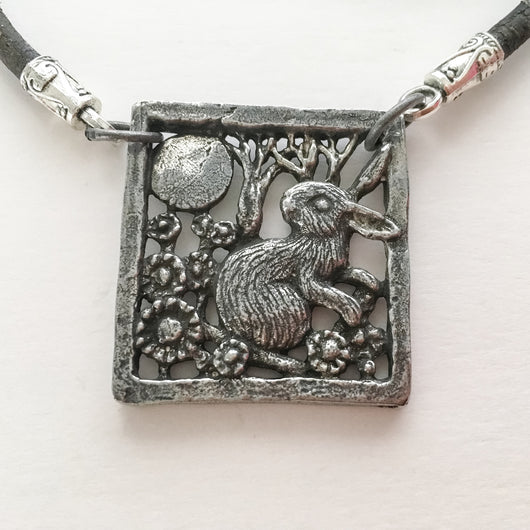 Green Girl Studios Rabbit Pendant on European Leather Cord approx. 24