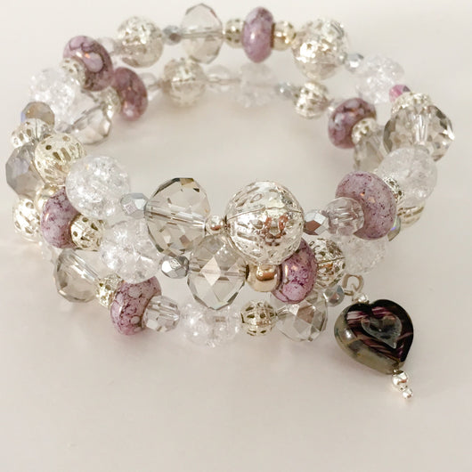 Crystal and Glass Czech Bead Bracelet with Heart Dangle - Shining Bee original - Shining Bee