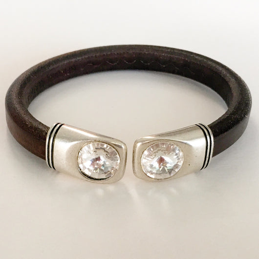 Men's leather bracelet Swarovski crystal