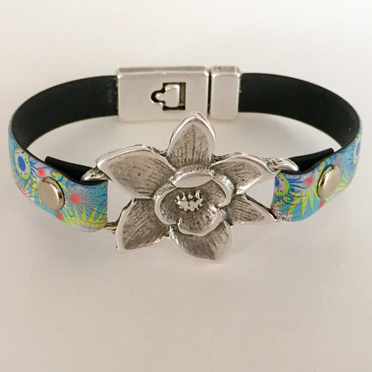 Leather Bracelet with Antique Silver Flower, Rivets, Clasp Size 7 - Shining Bee