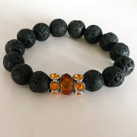 Men's Lava Rock Stretch Bracelet with Lampwork Accent Beads