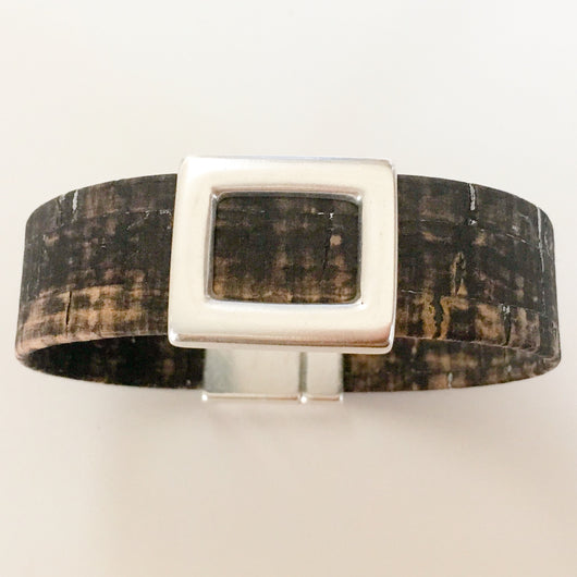 Portuguese Cork Men's Bracelet with Metal Slider Size 8
