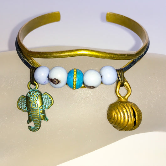 Brass Cuff Bracelet with Acai Berry Beads, Ganesha, African Jingle Bell Size 7 - Shining Bee