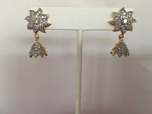 Imitation Diamond Dangly Earrings - Shining Bee