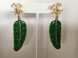 Green Palm Leaf Earrings Imitation Sapphire, Ruby or Diamond - Shining Bee