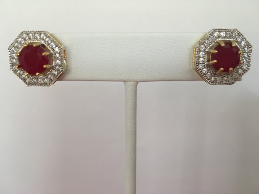 Shining Bee Fashion Jewelry M-10 Simulated Diamond/Ruby Earrings 1 Pair