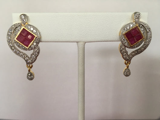 Shining Bee Fashion Jewelry Imitation Diamond/Ruby Earrings M-14 - Shining Bee