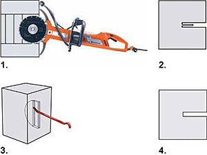 How to Step-Cut up to 16 Inches Deep with the Husqvarna EL70 Cut-n-Break Blade Set (Husqvarna K3000 Wet Electric Saw Shown)