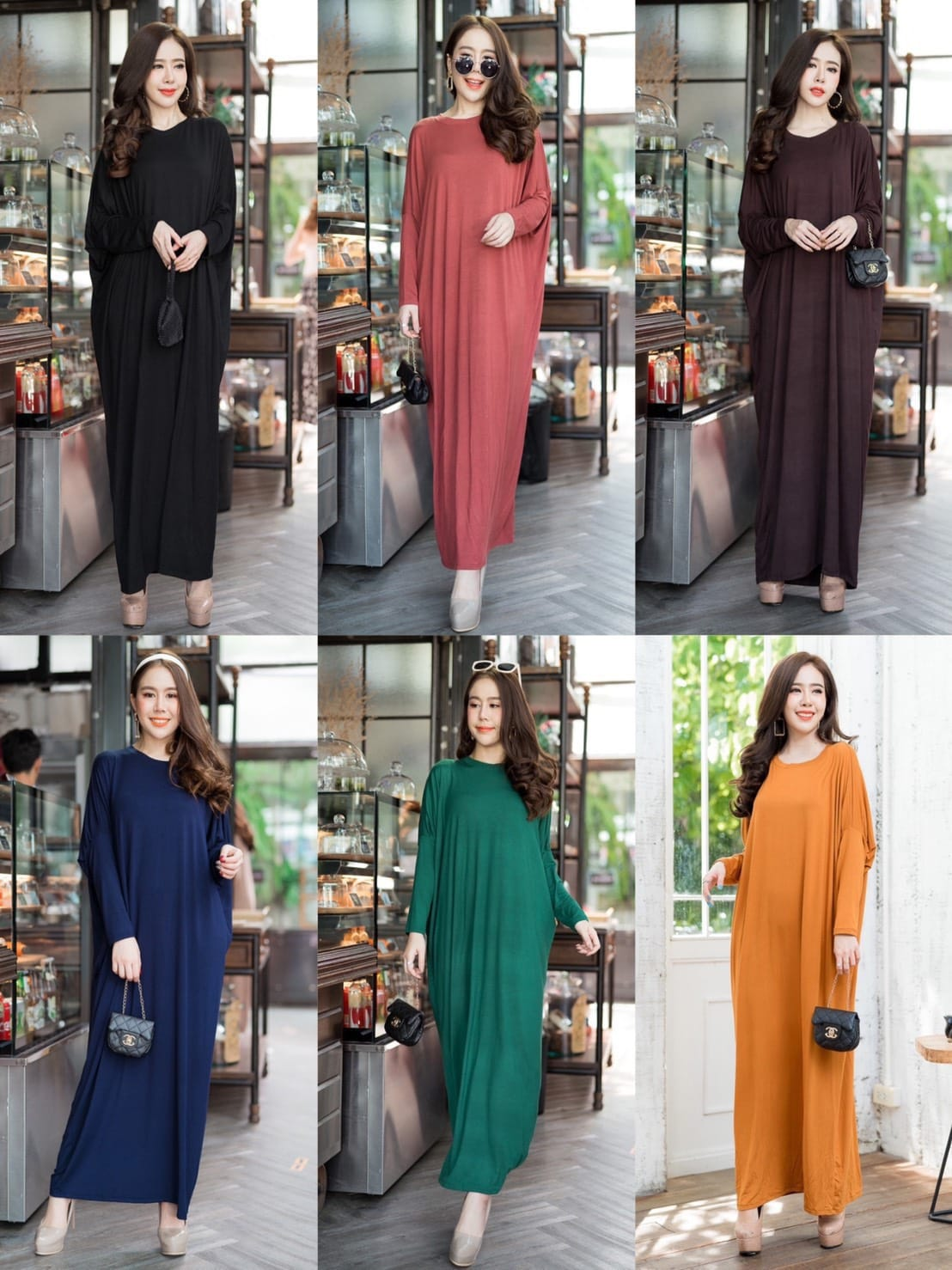 Batwing Basic Long Dress
