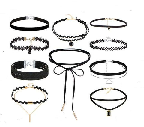 10 Choker Necklaces Set