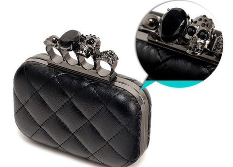 Skull Knuckle Rings Handbag Clutch