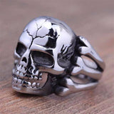 Mens Skull Head Biker Finger Ring