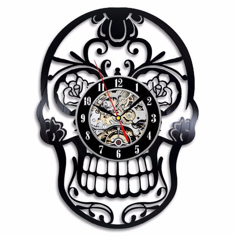 Skull Record Wall Clock